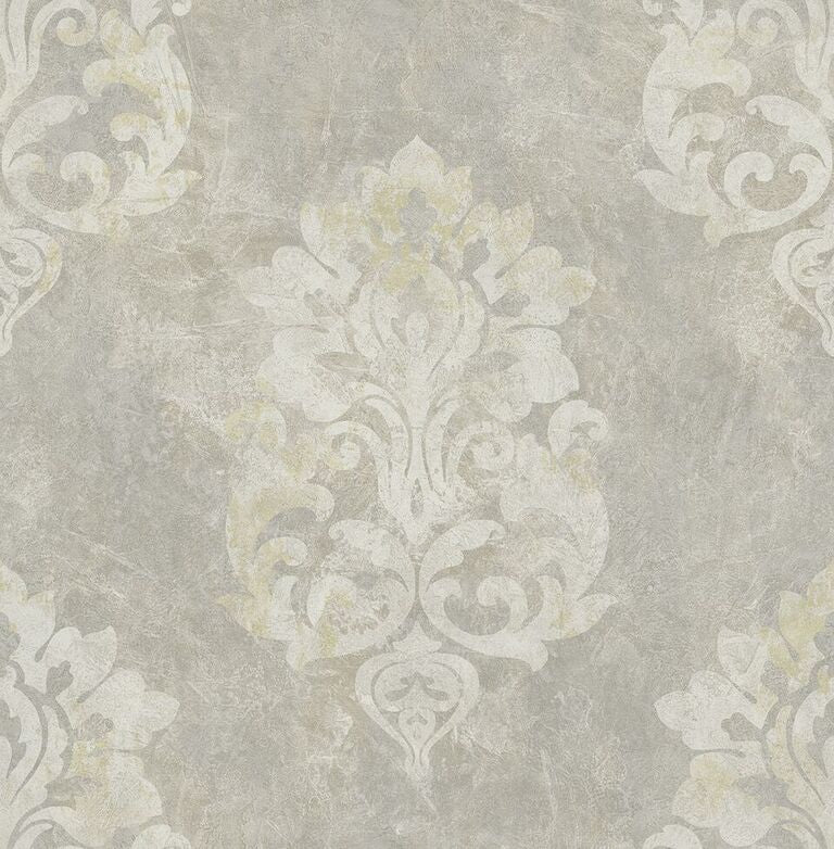 Grey Aged Damask Wallpaper R5128 | Vintage Home Interior