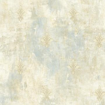Painted Fleur De Lis Wallpaper Sky Blue And Taupe R4847