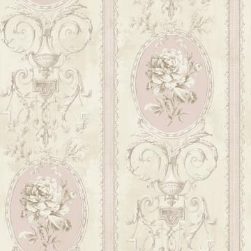 Beige and Pink Floral Frame Wallpaper R4876. Beige Wallpaper. Pink wallpaper. Elegant wallpaper. Classic wallpaper. Traditional wallpaper.
