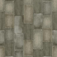 Faux Stitched Grey Leather Patchwork Wallpaper R4384