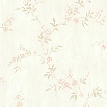 Floral Traditional Classic Metallic Rose Pink Modest Wallpaper R3739