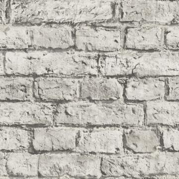 Modern Minimalist Brick Wallpaper White and Grey R4806
