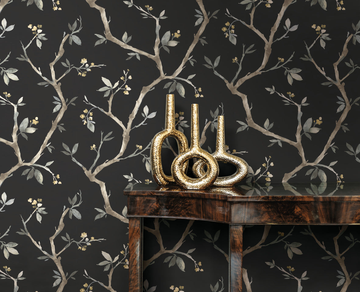 Black Minimalist Dark Floral Wallpaper R5078 Living Room