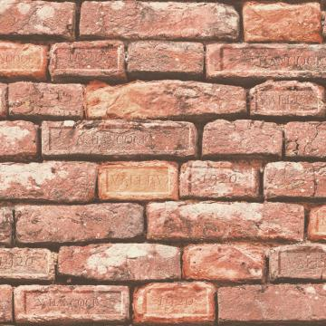 faux brick wallpaper, Red Rust Faux Brick Wallpaper R4803 | Traditional Home Wall Covering