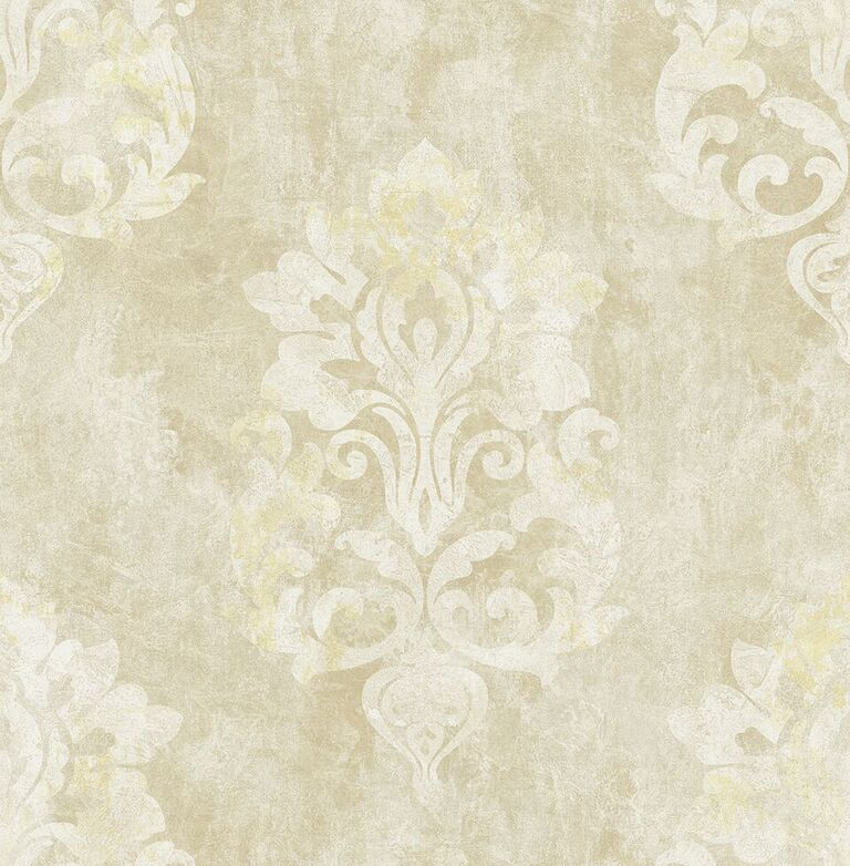 Beige Aged Damask Wallpaper R5126 | Vintage Home Interior