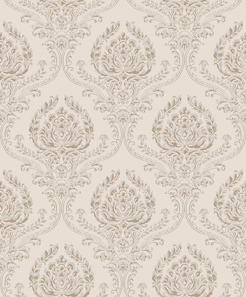 Beige Traditional Floral Damask Wallpaper R3451