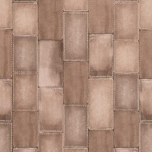 Beige Faux Stitched Leather Wallpaper R4380 | Vintage Home Interior