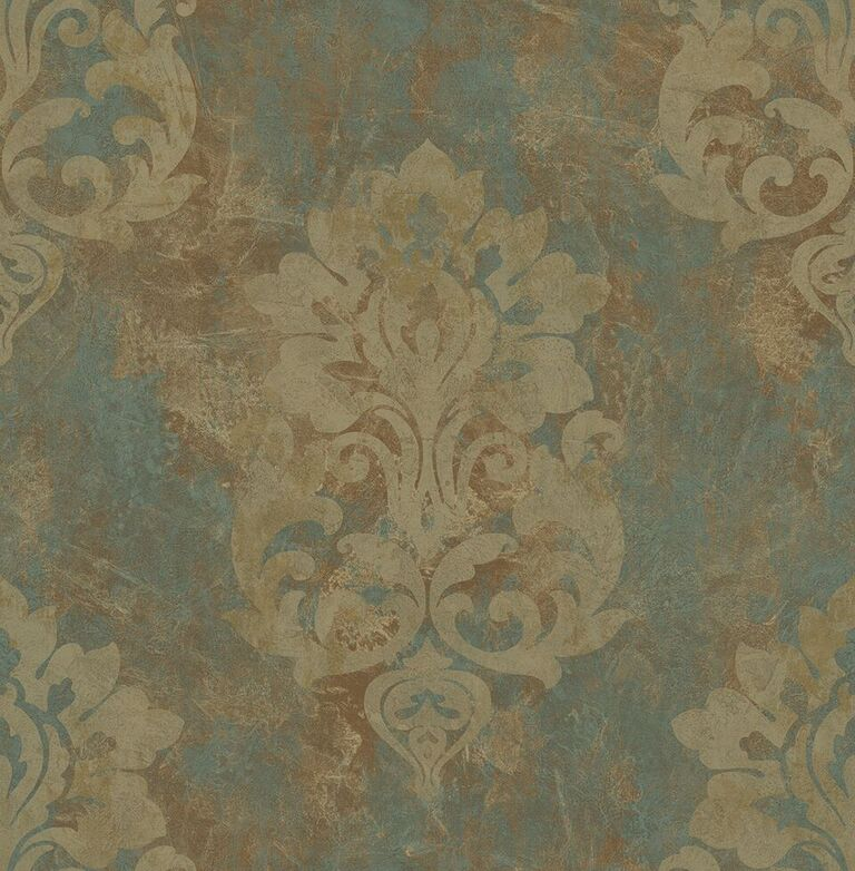 Blue & Grey Aged Damask Wallpaper R5125 | Vintage Home Interior