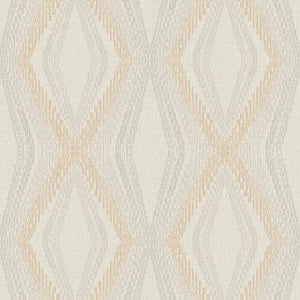 Diamond Chain Geometric Wallpaper Metallic Gold and Silver R4679