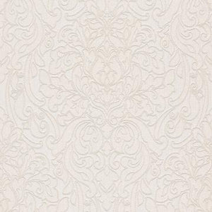 Lace Damask Linen Wallpaper White and Beige R4711