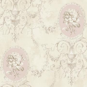 Beige Regal Floral Locket Wallpaper R4869
