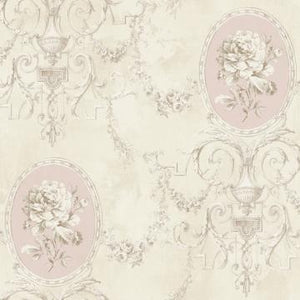 Regal Floral Locket Wallpaper Beige and Light Pink R4869
