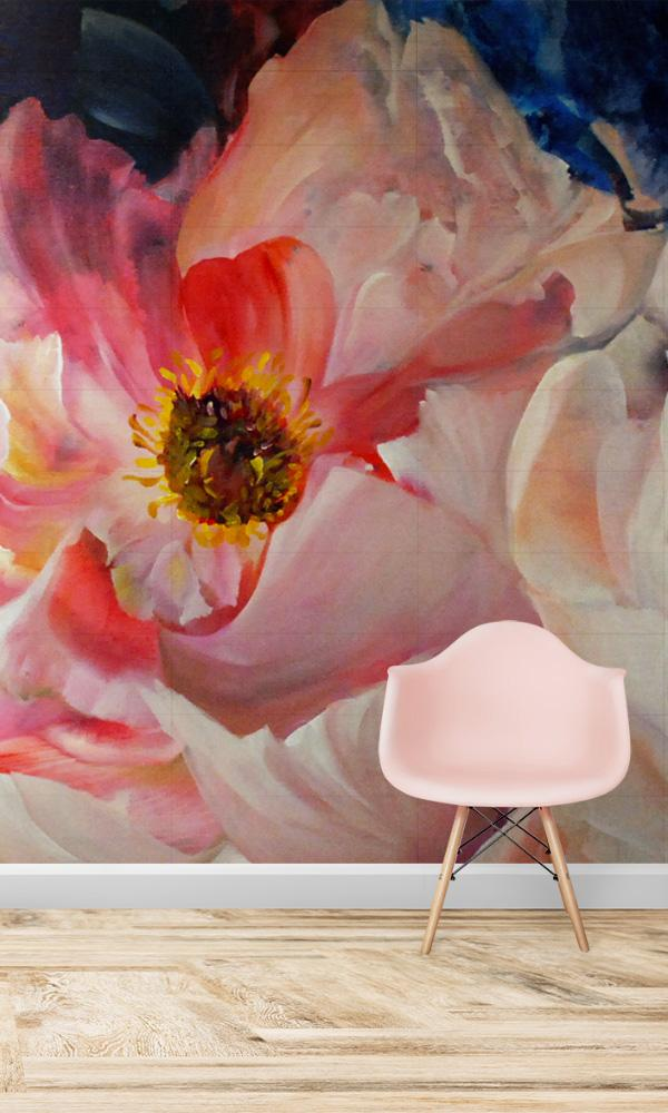 large scale floral wallpaper mural