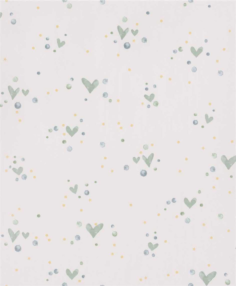 Off-White Handpainted Heart Floral Wallpaper R5423