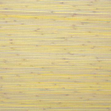Pina Yellow & Gray Stripe Majestic Grasscloth Woven Wallpaper  R1990
