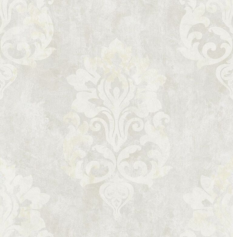 Beige Aged Damask Wallpaper R5127