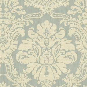 Glittered Damask Wallpaper Green and White R4878