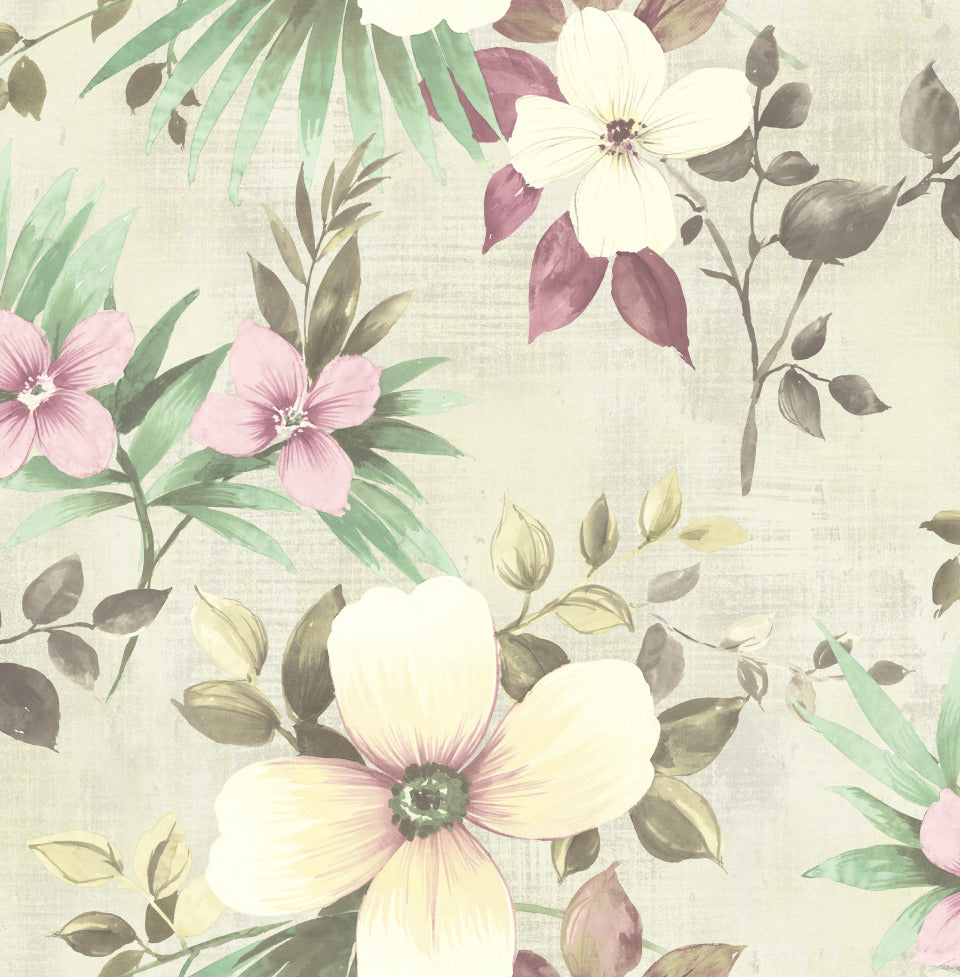Purple Yellow Classic Floral Field R5084 Residential Wallpaper
