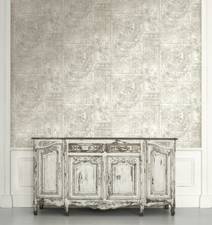 Grey Floral Collage Wallpaper R4865 | Traditional Home Wall Covering
