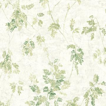 Vintage Green Leaves White Wallpaper R4841 | Traditional Home Interior