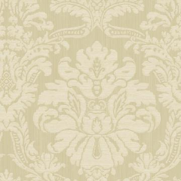 Glittered Damask Wallpaper Beige and White R4880
