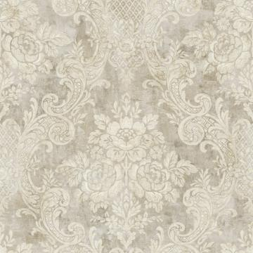 Rustic Painted Damask Wallpaper Taupe And Beige R4851