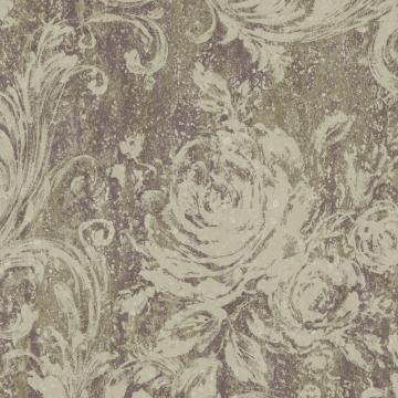 Swirling Brushstrokes Wallpaper Purple and Taupe R4863