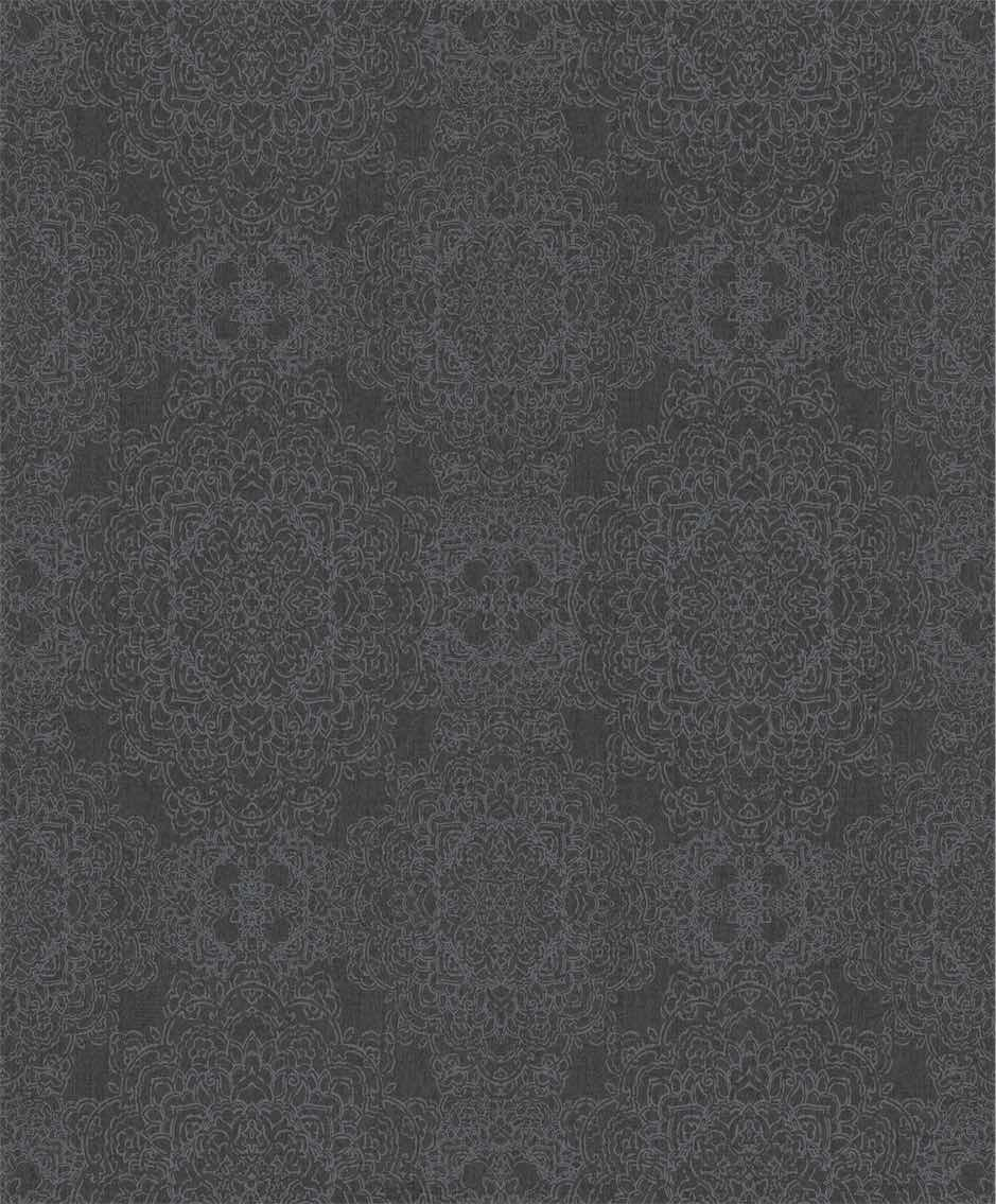 Dark Grey Leaf Classic Damask Wallpaper R5405