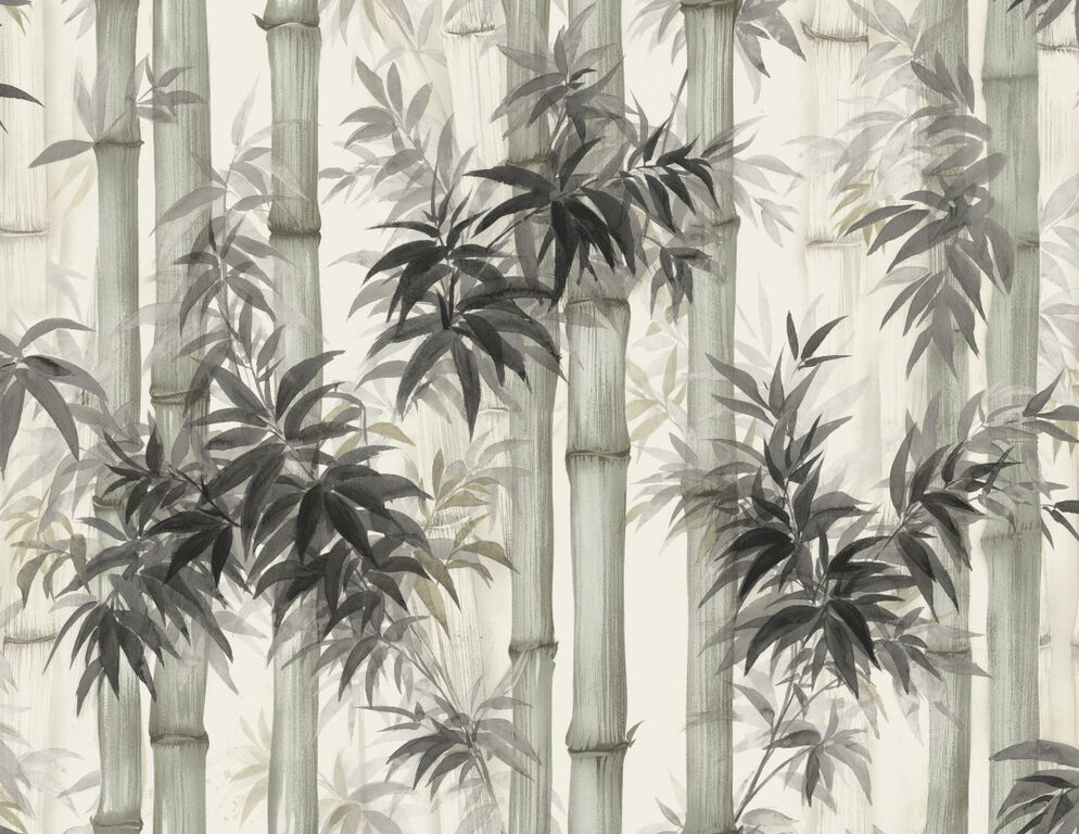 Black Painted Tranquil Bamboo Forest Wallpaper R5093 . Natural wallpaper. Feature wallpaper.