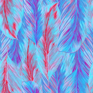 Multi-Colored Feathered Neon Mural Wallpaper M9307