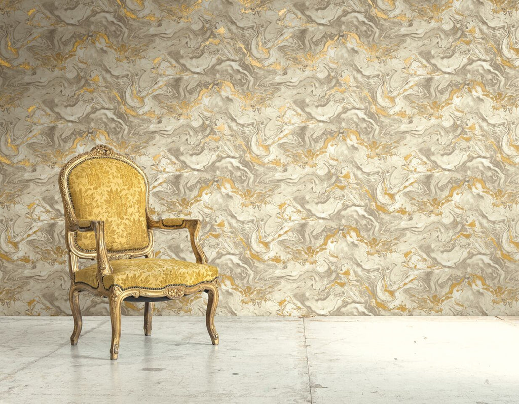 Grey & Orange Marbled Jewel Wallpaper R4796 | Modern Home Interior