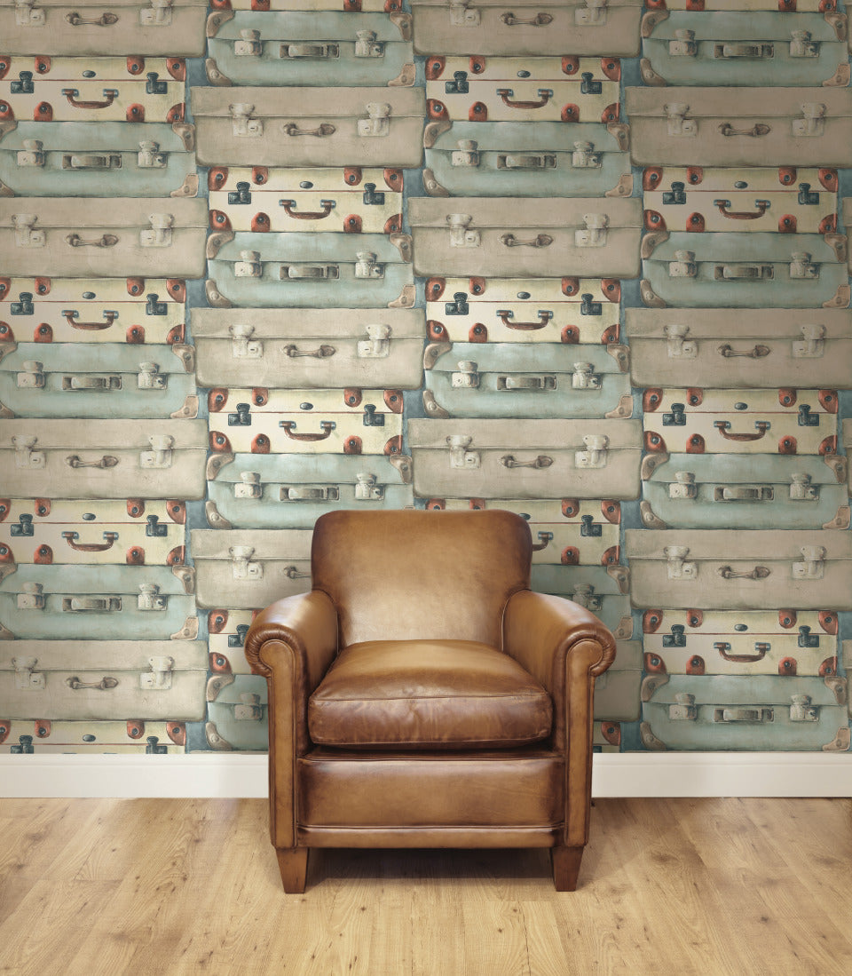 Blue & Silver Suitcases Wallpaper R4817 | Vintage Home Interior