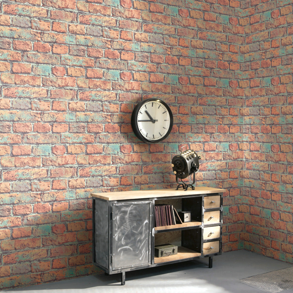 faux brick wallpaper,Red & Green Faux Brick Wallpaper R4805 | Contemporary Home Interior