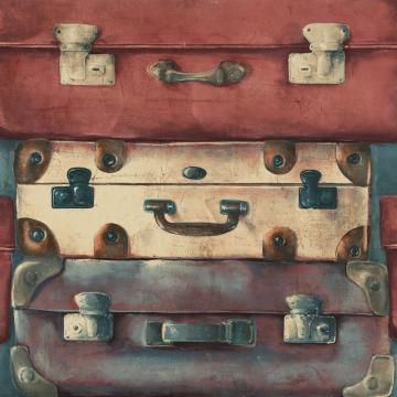 Vintage Suitcases Wallpaper Red and Navy R4820