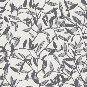 Silver Floral Leaf Wallpaper R2965 | Vintage Home Interior