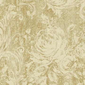 Gold and Beige Swirling Brushstrokes Wallpaper  R4864