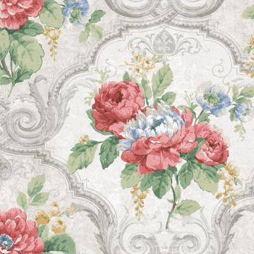 Framed Regal Floral Wallpaper Taupe and Pink R4837