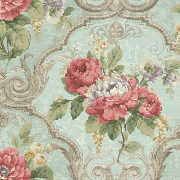 Framed Regal Floral Wallpaper Light Blue and Red R4834