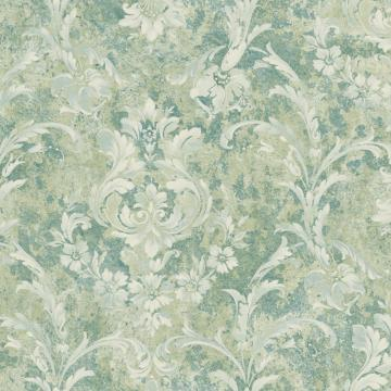 Green and White Weathered Blooming Floral Wallpaper  R4861