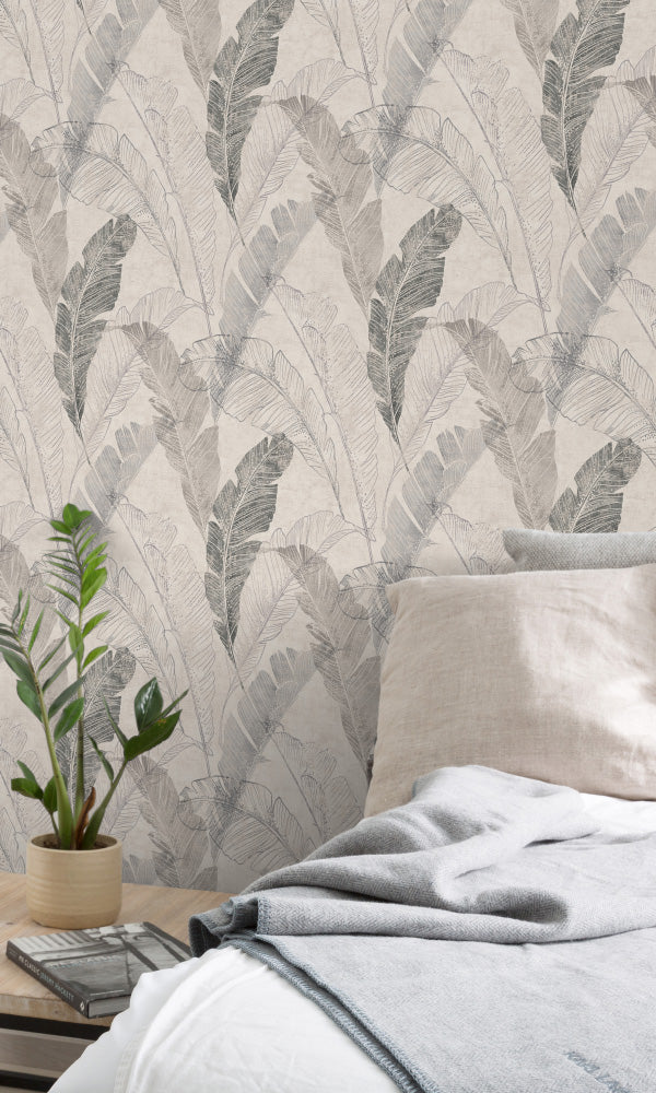 bohemian feathers bedroom wallpaper