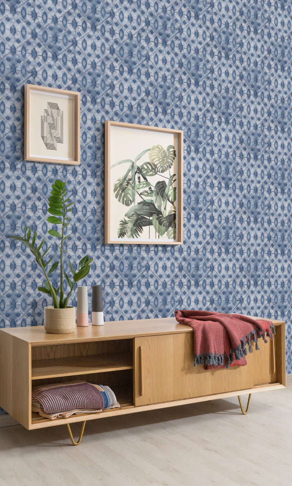 bohemian geometric home office wallpaper