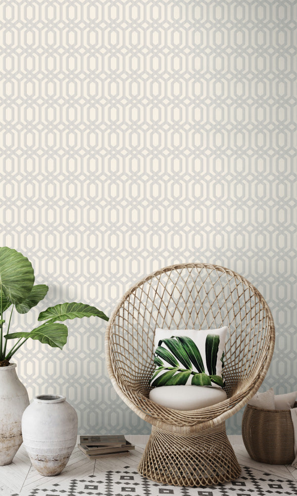 lattice geometric home office wallpaper
