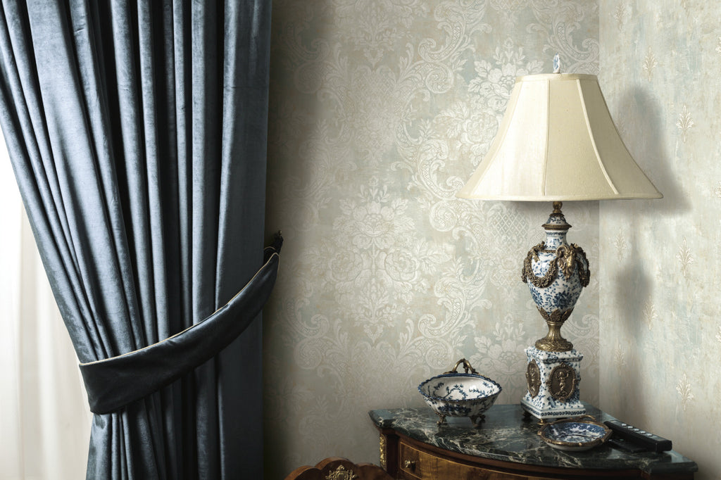 Rustic Painted Damask Wallpaper Taupe and Blue R4850 . Damask Wallpaper