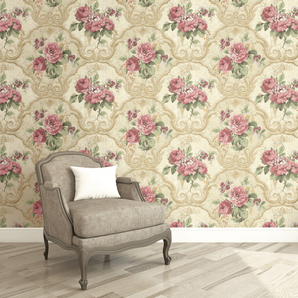 Pink Framed Regal Floral Wallpaper R4838 Contemporary Home