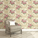 Framed Regal Floral Wallpaper Brown and Pink R4838