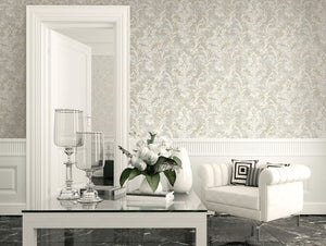 Weathered Blooming Floral Wallpaper Taupe and Grey R4859