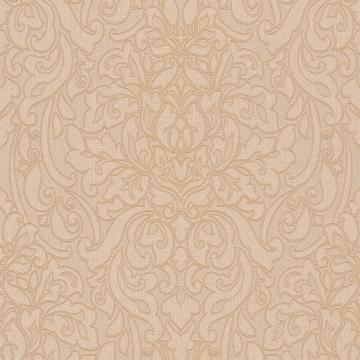 Lace Damask Linen Wallpaper Cream and Gold R4713