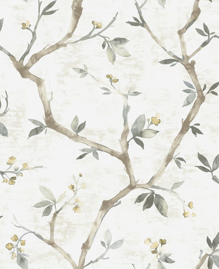 White Minimalist Painted Nature Wallpaper R5080 | Luxury Home Interior