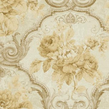 Framed Regal Floral Wallpaper Beige R4839