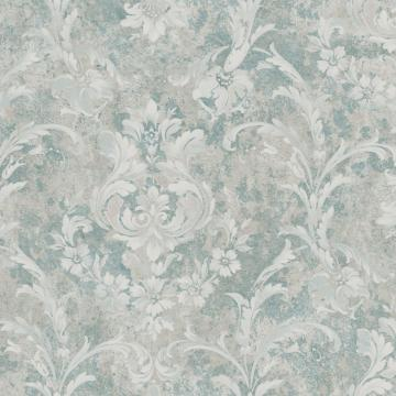 Blue and White Weathered Blooming Floral Wallpaper R4860